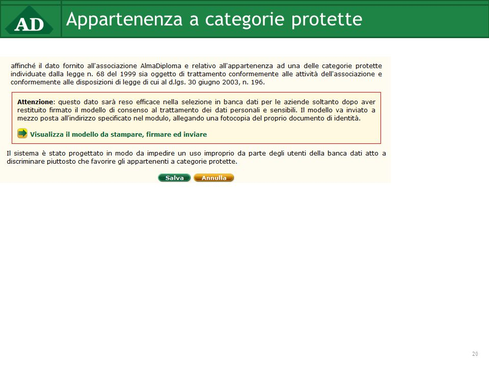 Appartenenza a categorie protette 20