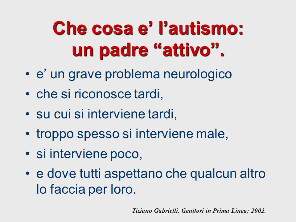 """Che cosa e' l'autismo: un padre """"attivo"""". e' un grave problema neurologico che si riconosce tardi, su cui si interviene tardi, troppo spesso si interv"""