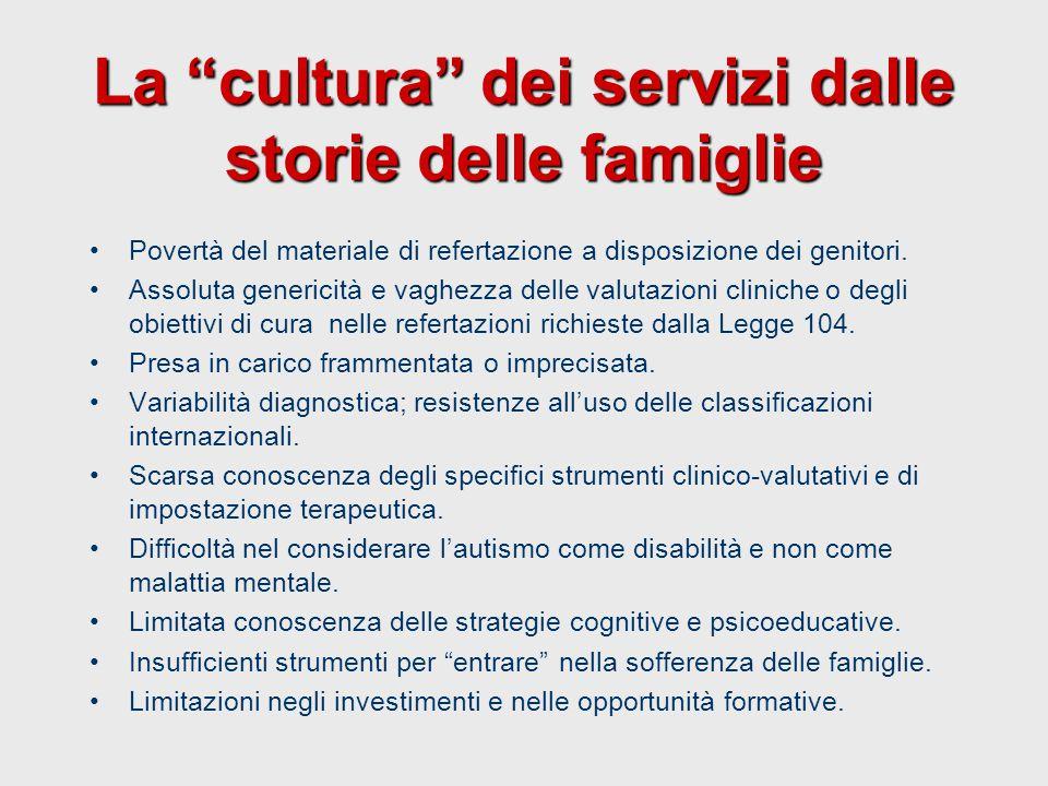 """La """"cultura"""" dei servizi dalle storie delle famiglie Povertà del materiale di refertazione a disposizione dei genitori. Assoluta genericità e vaghezza"""