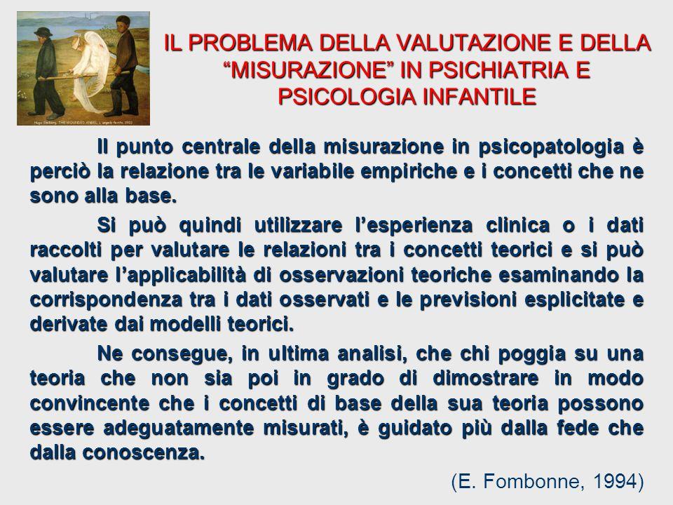 Il punto centrale della misurazione in psicopatologia è perciò la relazione tra le variabile empiriche e i concetti che ne sono alla base. Si può quin