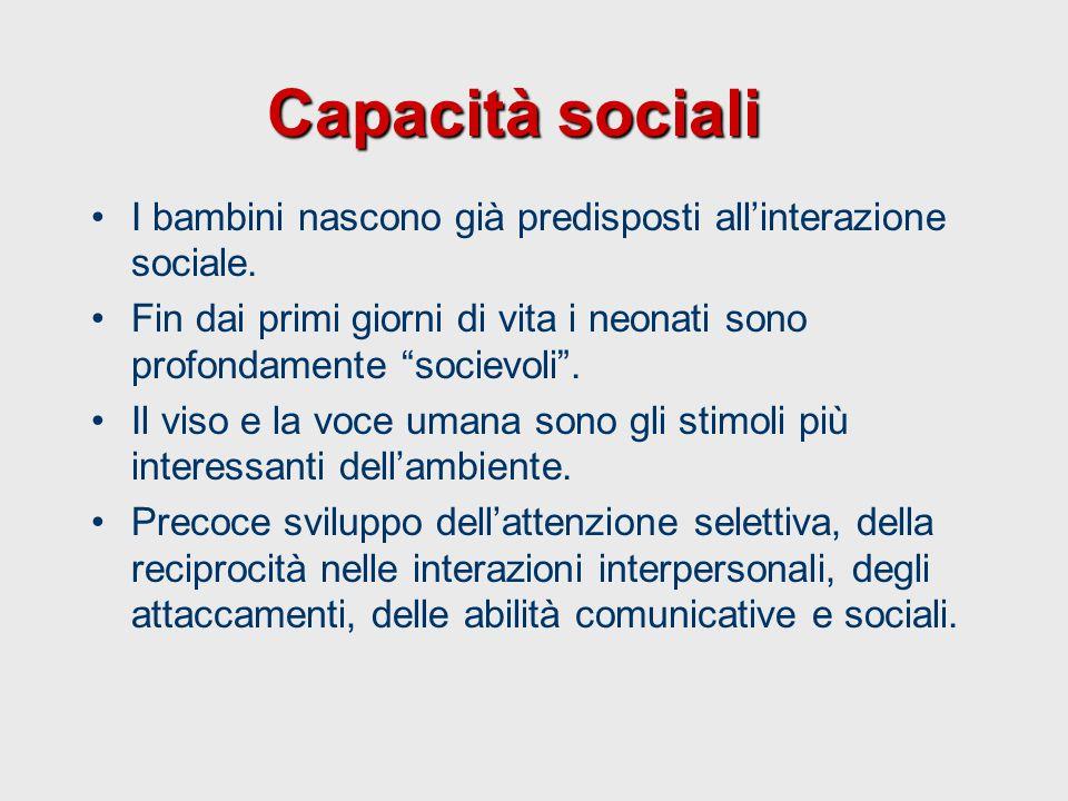 """Capacità sociali I bambini nascono già predisposti all'interazione sociale. Fin dai primi giorni di vita i neonati sono profondamente """"socievoli"""". Il"""