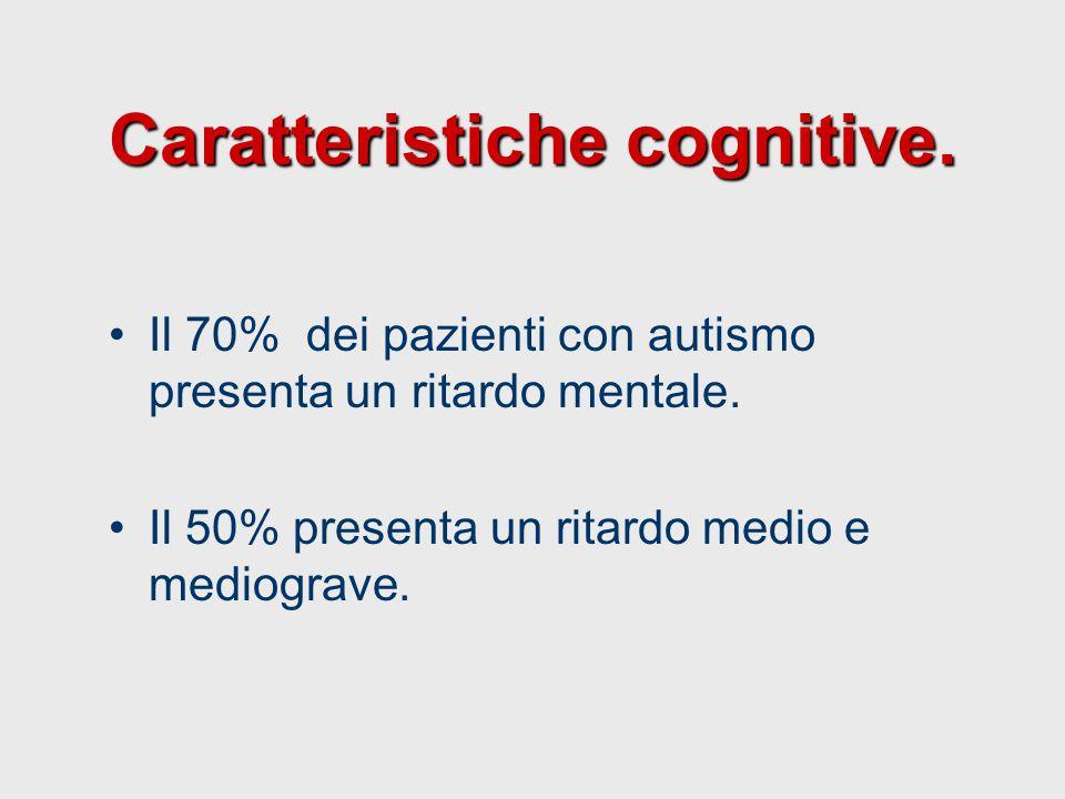 Caratteristiche cognitive. Il 70% dei pazienti con autismo presenta un ritardo mentale. Il 50% presenta un ritardo medio e mediograve.