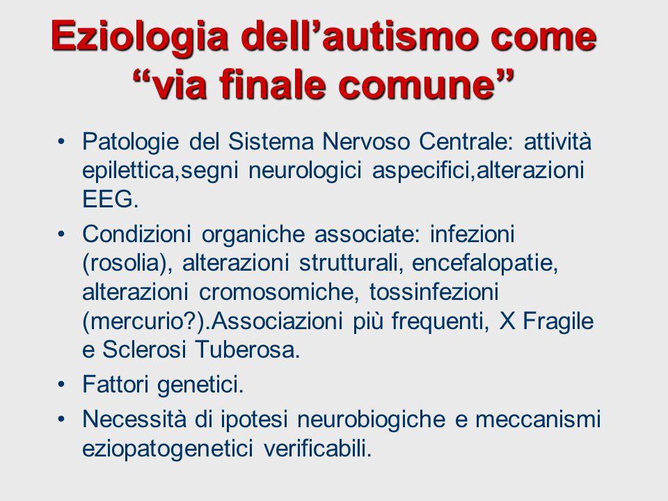 """Eziologia dell'autismo come """"via finale comune"""" Patologie del Sistema Nervoso Centrale: attività epilettica,segni neurologici aspecifici,alterazioni E"""