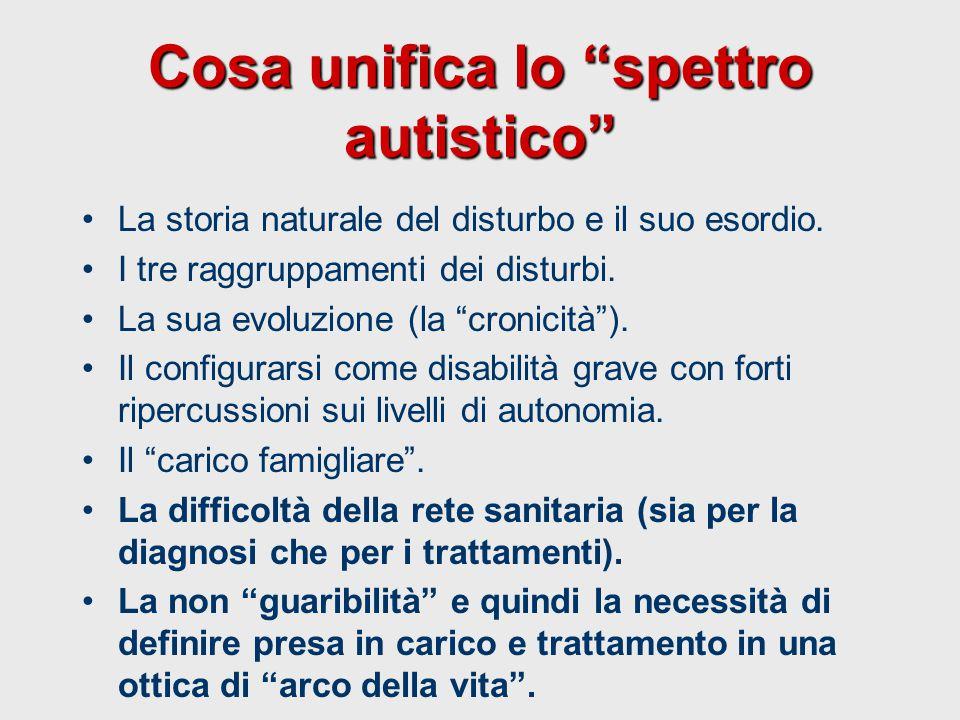 """Cosa unifica lo """"spettro autistico"""" La storia naturale del disturbo e il suo esordio. I tre raggruppamenti dei disturbi. La sua evoluzione (la """"cronic"""