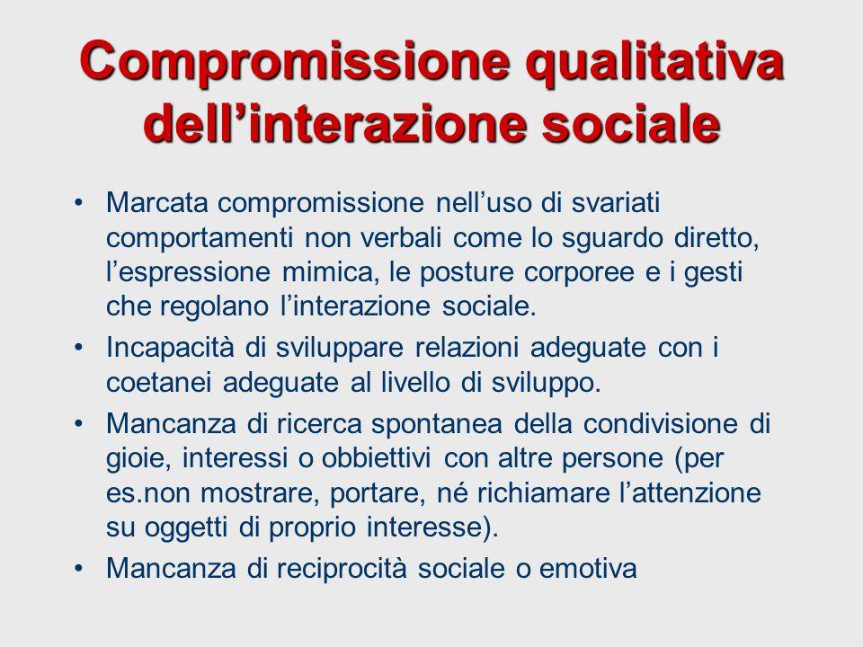 Compromissione qualitativa dell'interazione sociale Marcata compromissione nell'uso di svariati comportamenti non verbali come lo sguardo diretto, l'e