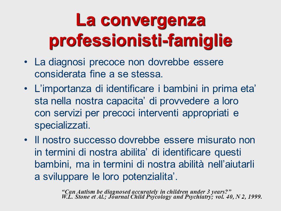 La convergenza professionisti-famiglie La diagnosi precoce non dovrebbe essere considerata fine a se stessa. L'importanza di identificare i bambini in