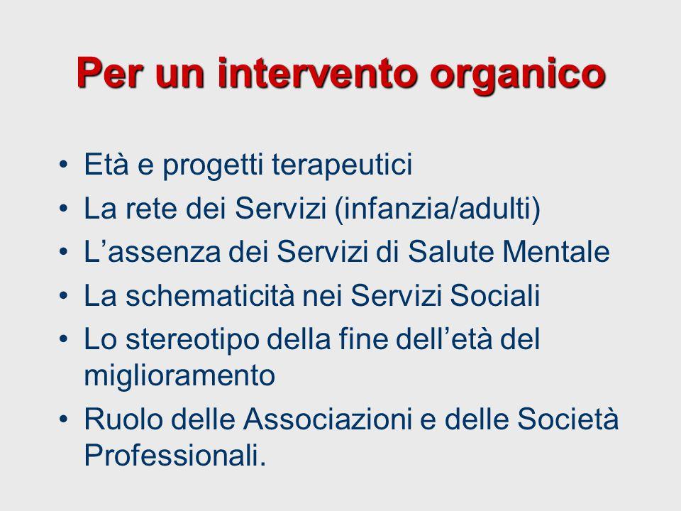 Per un intervento organico Età e progetti terapeutici La rete dei Servizi (infanzia/adulti) L'assenza dei Servizi di Salute Mentale La schematicità ne