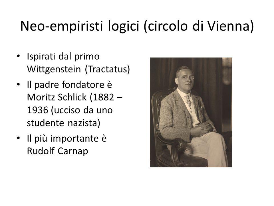 Neo-empiristi logici (circolo di Vienna) Ispirati dal primo Wittgenstein (Tractatus) Il padre fondatore è Moritz Schlick (1882 – 1936 (ucciso da uno studente nazista) Il più importante è Rudolf Carnap