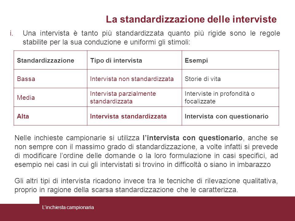 La standardizzazione delle interviste i.Una intervista è tanto più standardizzata quanto più rigide sono le regole stabilite per la sua conduzione e u
