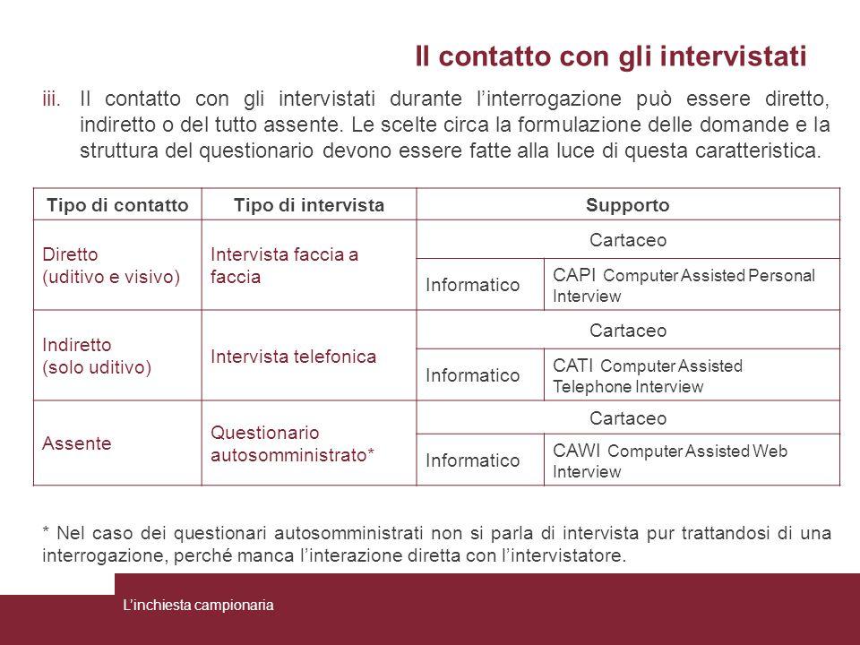 Il contatto con gli intervistati iii.Il contatto con gli intervistati durante l'interrogazione può essere diretto, indiretto o del tutto assente. Le s