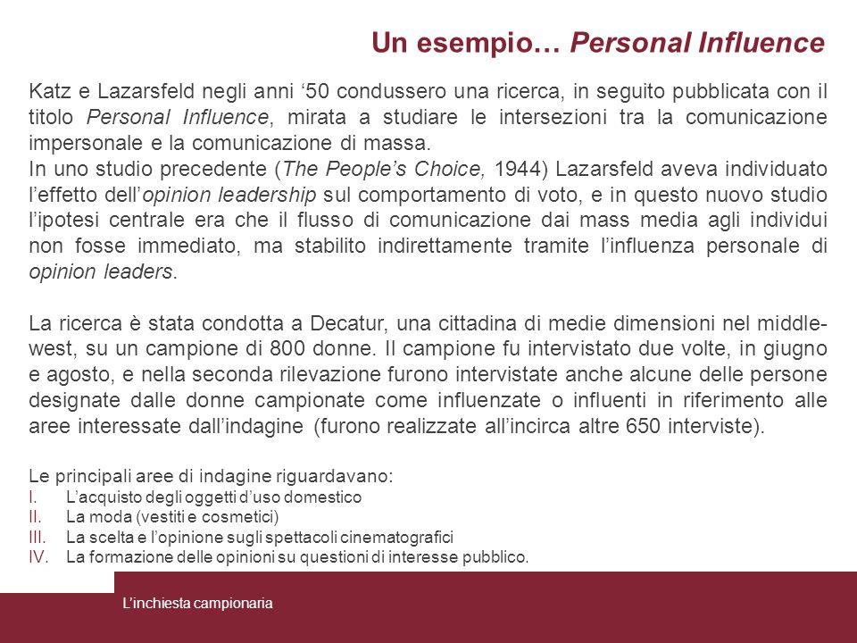 Un esempio… Personal Influence Katz e Lazarsfeld negli anni '50 condussero una ricerca, in seguito pubblicata con il titolo Personal Influence, mirata