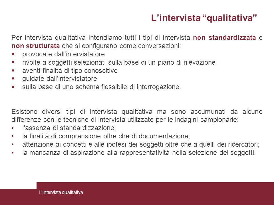 """L'intervista """"qualitativa"""" Per intervista qualitativa intendiamo tutti i tipi di intervista non standardizzata e non strutturata che si configurano co"""