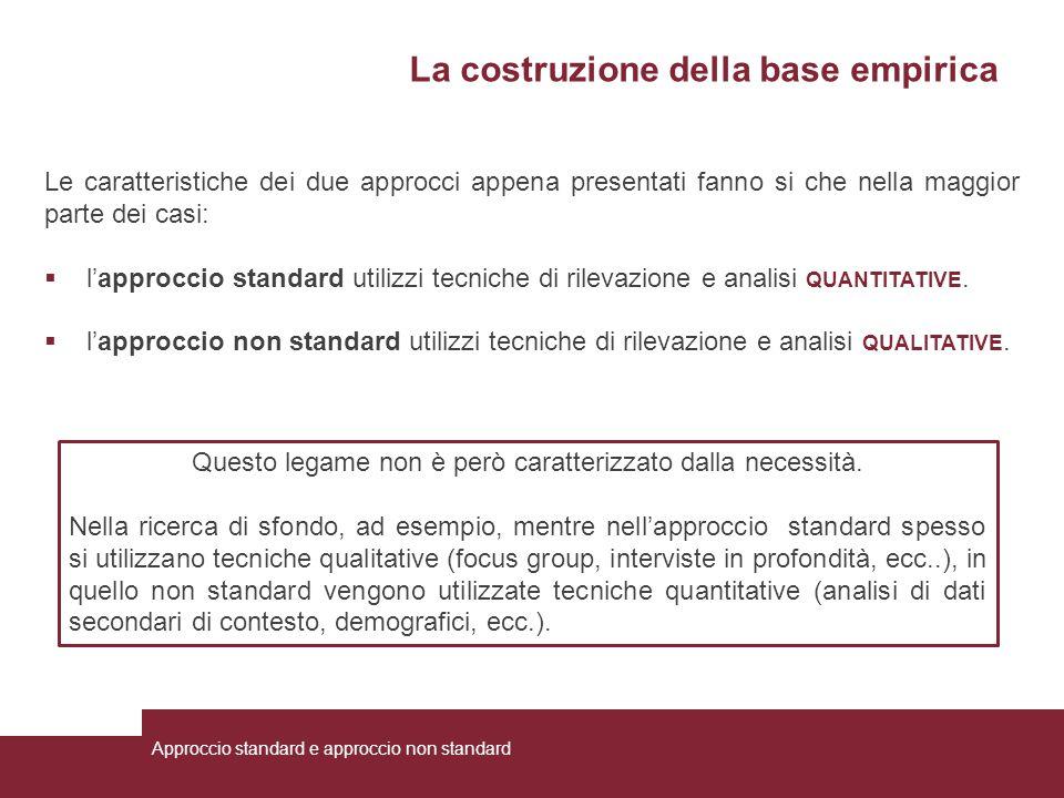 La costruzione della base empirica Le caratteristiche dei due approcci appena presentati fanno si che nella maggior parte dei casi:  l'approccio stan