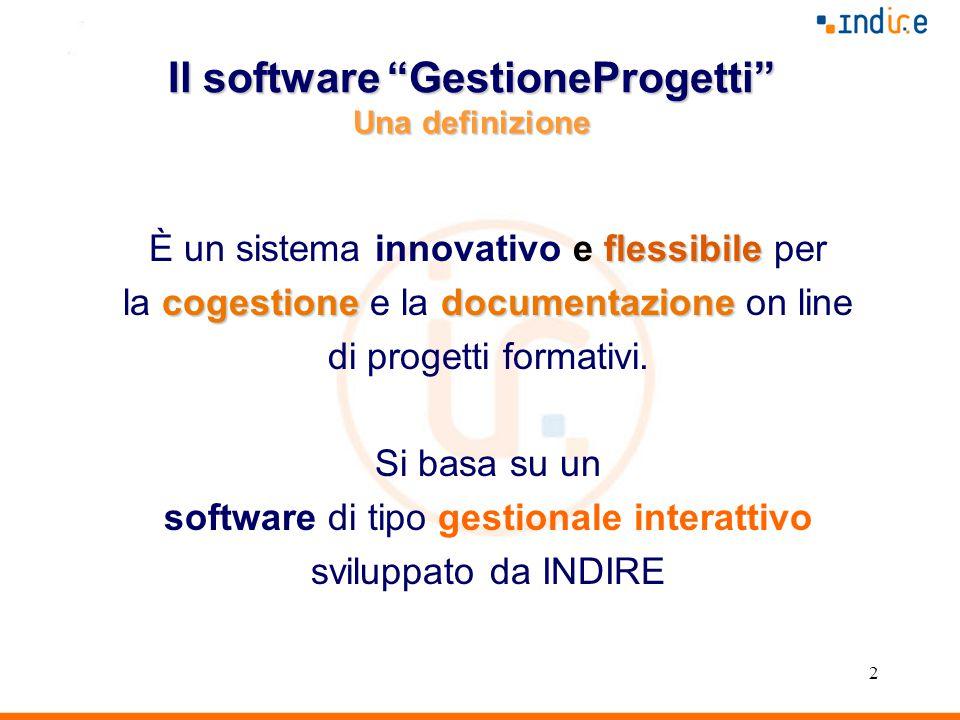 2 Il software GestioneProgetti Una definizione flessibile È un sistema innovativo e flessibile per cogestionedocumentazione la cogestione e la documentazione on line di progetti formativi.
