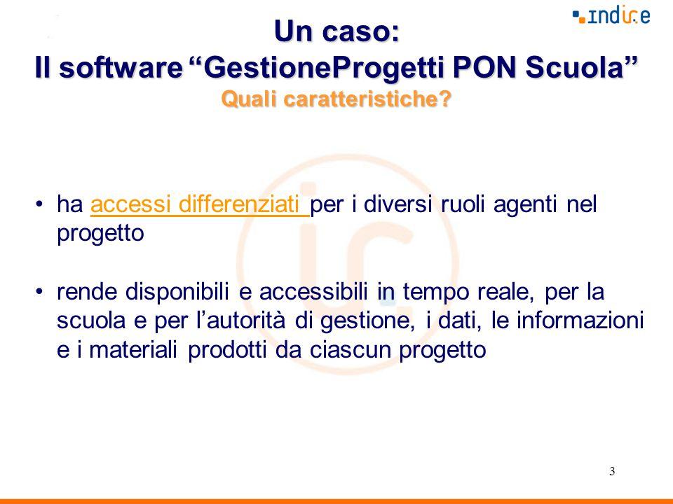 3 Un caso: Il software GestioneProgetti PON Scuola Quali caratteristiche.