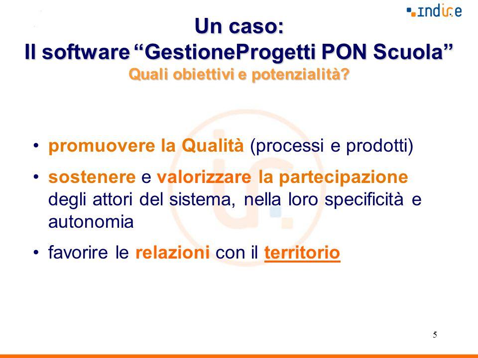5 Un caso: Il software GestioneProgetti PON Scuola Quali obiettivi e potenzialità.