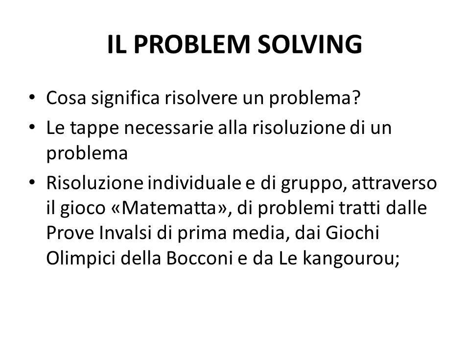 IL PROBLEM SOLVING Cosa significa risolvere un problema.