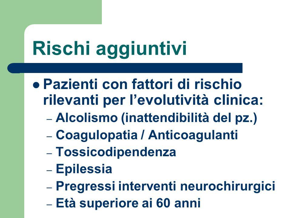 Rischi aggiuntivi Pazienti con fattori di rischio rilevanti per l'evolutività clinica: – Alcolismo (inattendibilità del pz.) – Coagulopatia / Anticoag