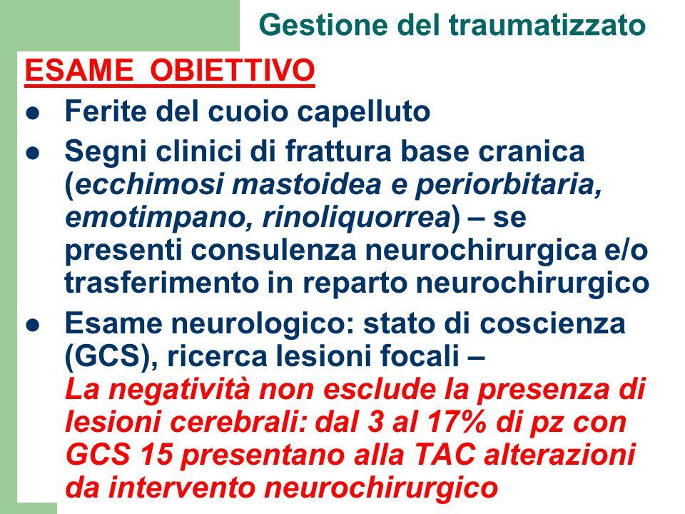 Gestione del traumatizzato ESAME OBIETTIVO Ferite del cuoio capelluto Segni clinici di frattura base cranica (ecchimosi mastoidea e periorbitaria, emo