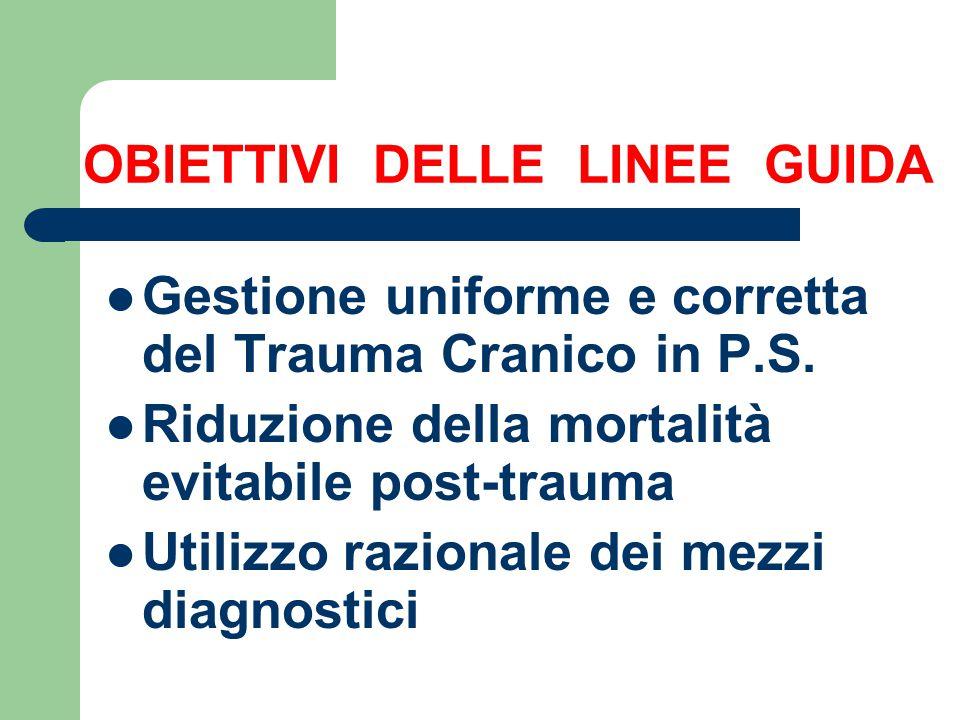 OBIETTIVI DELLE LINEE GUIDA Gestione uniforme e corretta del Trauma Cranico in P.S. Riduzione della mortalità evitabile post-trauma Utilizzo razionale