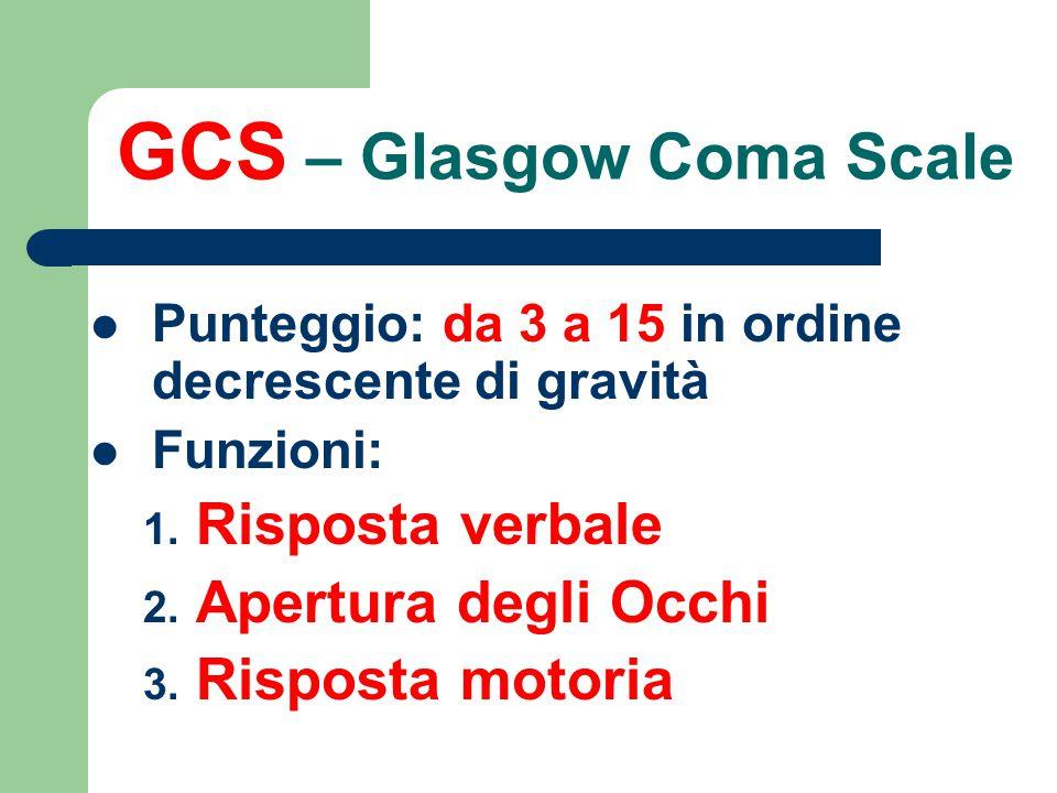 GCS – Glasgow Coma Scale Punteggio: da 3 a 15 in ordine decrescente di gravità Funzioni: 1. Risposta verbale 2. Apertura degli Occhi 3. Risposta motor
