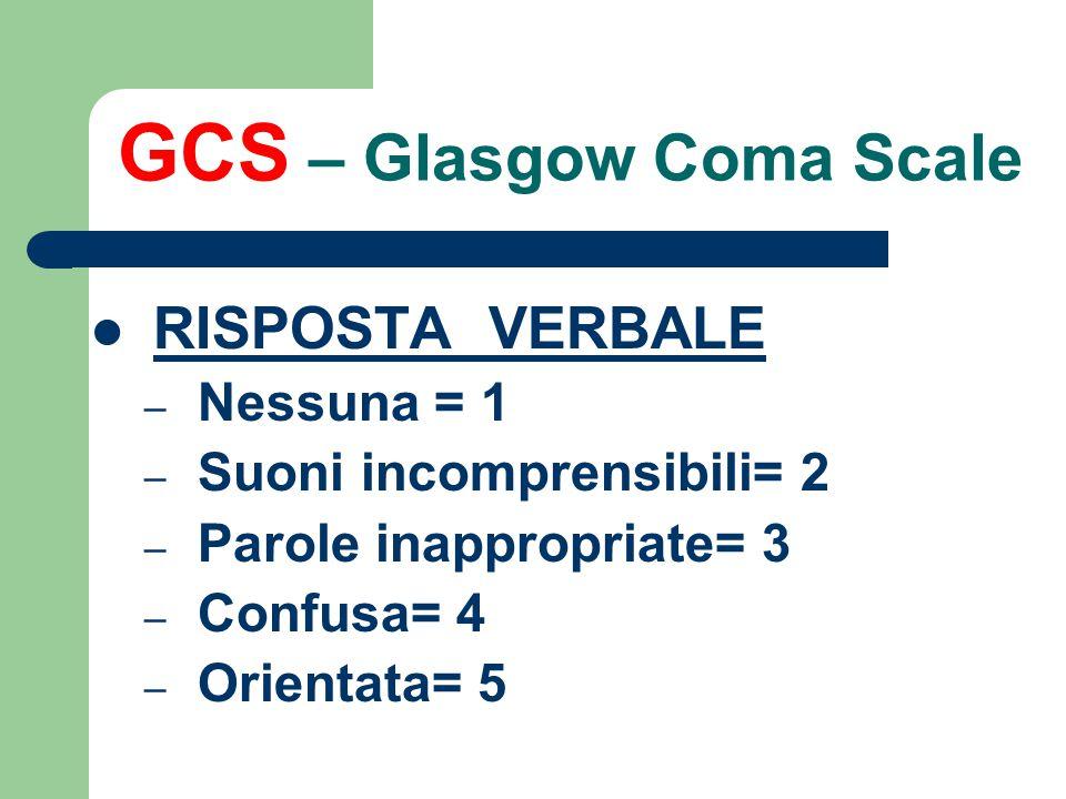 GCS – Glasgow Coma Scale APERTURA DEGLI OCCHI – Nessuna = 1 – Al dolore= 2 – Agli ordini verbali= 3 – Spontanea= 4