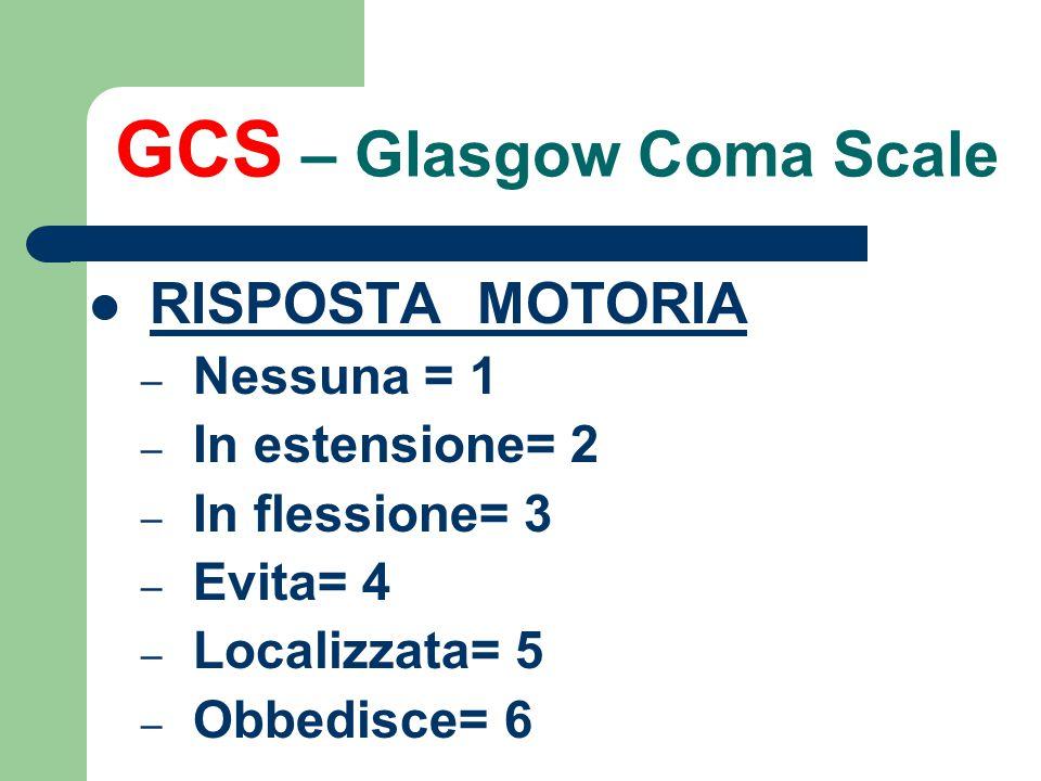GCS – Glasgow Coma Scale RISPOSTA MOTORIA – Nessuna = 1 – In estensione= 2 – In flessione= 3 – Evita= 4 – Localizzata= 5 – Obbedisce= 6