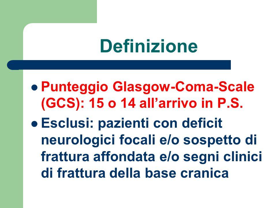 Definizione Punteggio Glasgow-Coma-Scale (GCS): 15 o 14 all'arrivo in P.S. Esclusi: pazienti con deficit neurologici focali e/o sospetto di frattura a