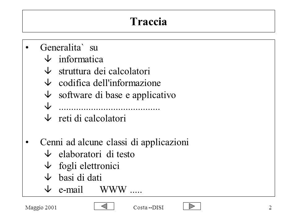 Maggio 2001Costa --DISI2 Traccia Generalita` su â informatica â struttura dei calcolatori â codifica dell'informazione â software di base e applicativ