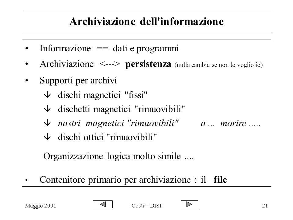 Maggio 2001Costa --DISI21 Archiviazione dell'informazione Informazione == dati e programmi Archiviazione persistenza (nulla cambia se non lo voglio io
