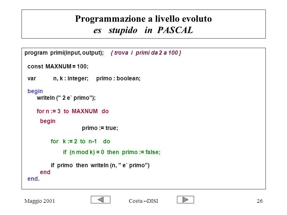Maggio 2001Costa --DISI26 Programmazione a livello evoluto es stupido in PASCAL program primi(input, output);{ trova i primi da 2 a 100 } const MAXNUM = 100; var n, k : integer; primo : boolean; begin writeln ( 2 e` primo ); for n := 3 to MAXNUM do begin primo := true; for k := 2 to n-1 do if (n mod k) = 0 then primo := false; if primo then writeln (n, e` primo ) end end.