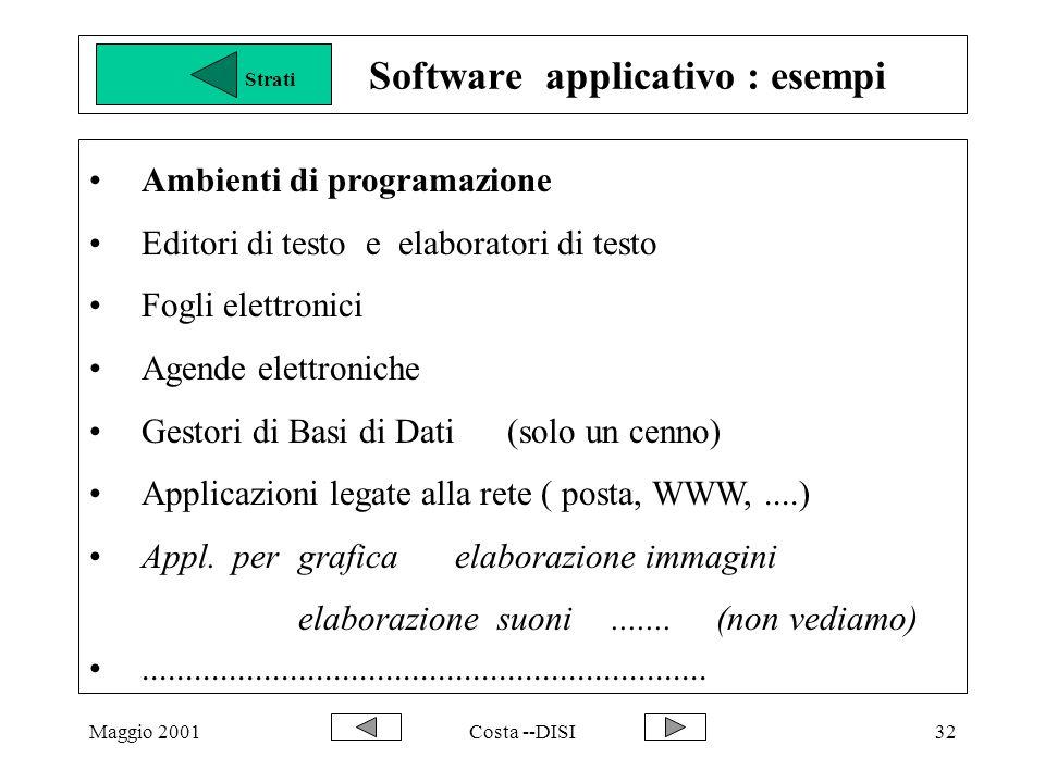 Maggio 2001Costa --DISI32 Software applicativo : esempi Ambienti di programazione Editori di testo e elaboratori di testo Fogli elettronici Agende elettroniche Gestori di Basi di Dati (solo un cenno) Applicazioni legate alla rete ( posta, WWW,....) Appl.