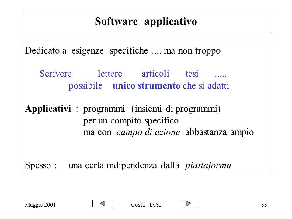 Maggio 2001Costa --DISI33 Software applicativo Dedicato a esigenze specifiche.... ma non troppo Scrivere letterearticolitesi...... possibile unico str