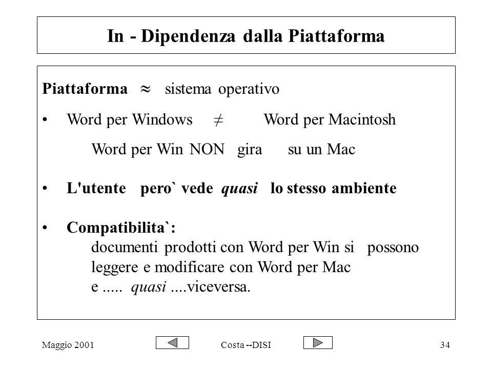Maggio 2001Costa --DISI34 In - Dipendenza dalla Piattaforma Piattaforma  sistema operativo Word per Windows≠Word per Macintosh Word per Win NON gira su un Mac L utentepero` vede quasi lo stesso ambiente Compatibilita`: documenti prodotti con Word per Win si possono leggere e modificare con Word per Mac e.....