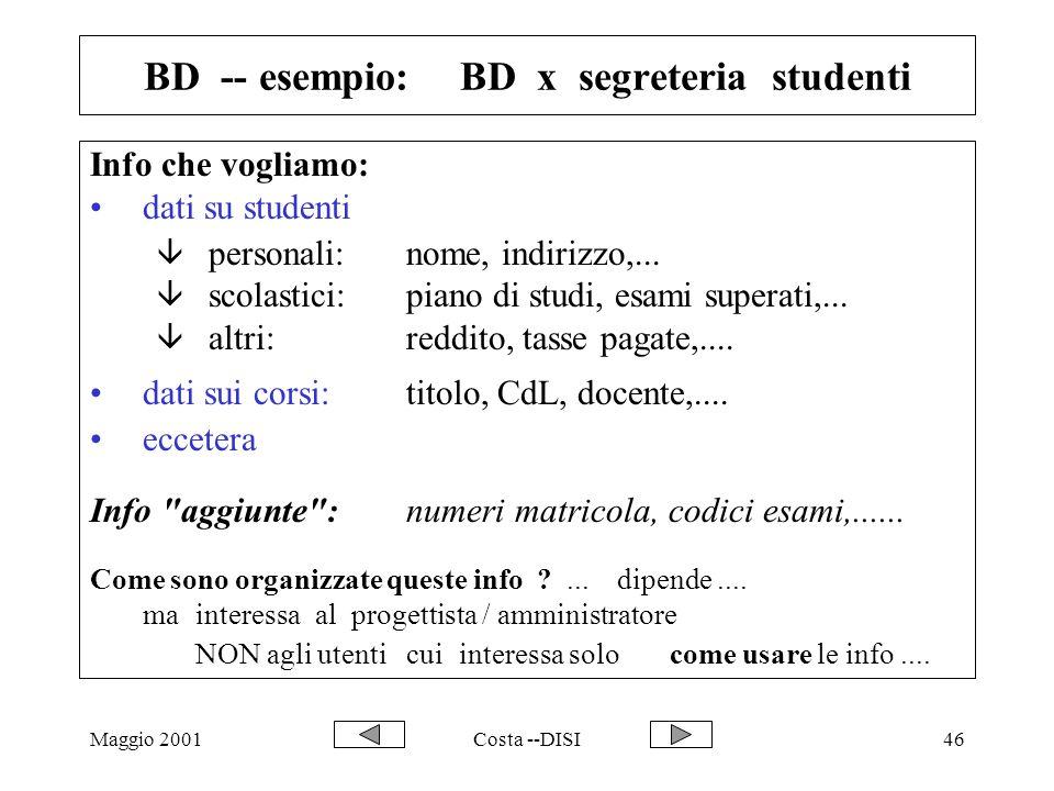 Maggio 2001Costa --DISI46 BD -- esempio: BD x segreteria studenti Info che vogliamo: dati su studenti â personali:nome, indirizzo,... â scolastici:pia