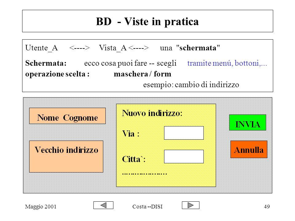 Maggio 2001Costa --DISI49 BD - Viste in pratica Utente_A Vista_A una