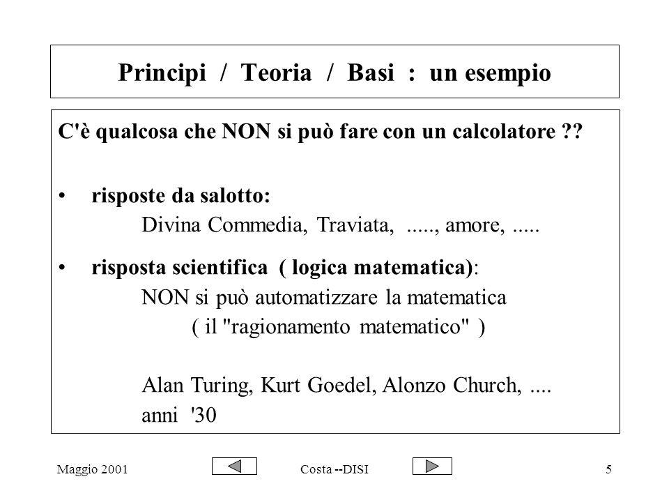 Maggio 2001Costa --DISI5 C'è qualcosa che NON si può fare con un calcolatore ?? risposte da salotto: Divina Commedia, Traviata,....., amore,..... risp