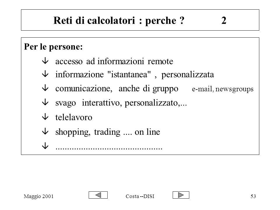 Maggio 2001Costa --DISI53 Reti di calcolatori : perche ?2 Per le persone: â accesso ad informazioni remote â informazione