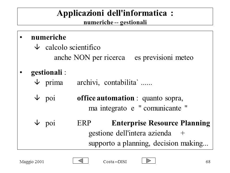 Maggio 2001Costa --DISI68 Applicazioni dell'informatica : numeriche -- gestionali numeriche â calcolo scientifico anche NON per ricerca es previsioni