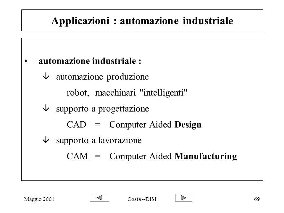 Maggio 2001Costa --DISI69 Applicazioni : automazione industriale automazione industriale : â automazione produzione robot, macchinari intelligenti â supporto a progettazione CAD=Computer Aided Design â supporto a lavorazione CAM=Computer Aided Manufacturing