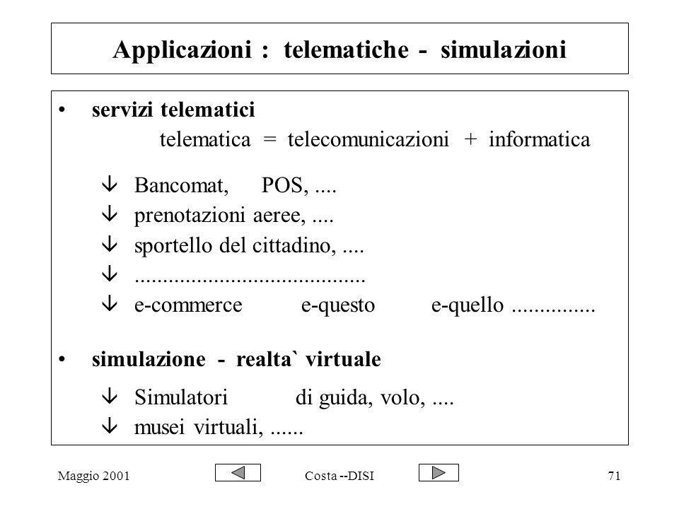 Maggio 2001Costa --DISI71 Applicazioni : telematiche - simulazioni servizi telematici telematica = telecomunicazioni + informatica â Bancomat,POS,....