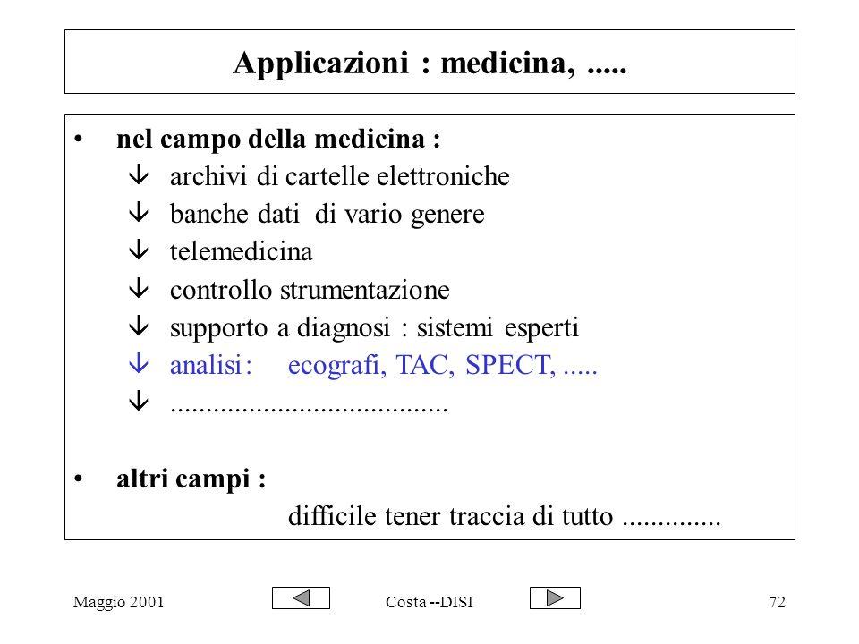 Maggio 2001Costa --DISI72 Applicazioni : medicina,..... nel campo della medicina : â archivi di cartelle elettroniche â banche dati di vario genere â