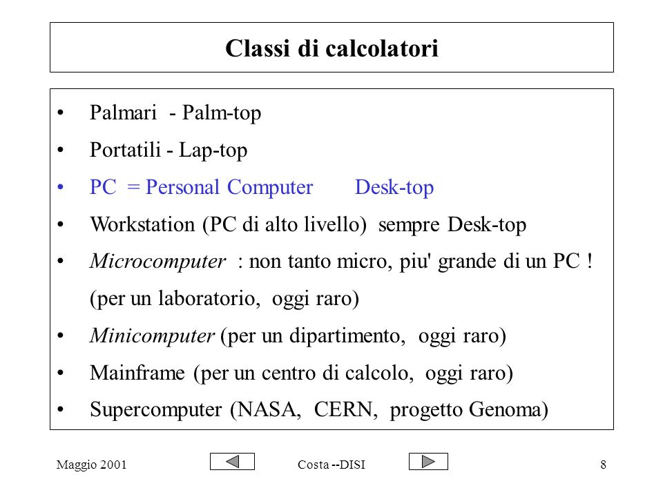 Maggio 2001Costa --DISI8 Classi di calcolatori Palmari - Palm-top Portatili - Lap-top PC = Personal Computer Desk-top Workstation (PC di alto livello) sempre Desk-top Microcomputer : non tanto micro, piu grande di un PC .