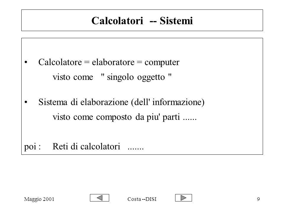 Maggio 2001Costa --DISI50 Prima delle Reti di calcolatori Sistema informatico di una azienda / un centro di ricerca: T : terminale stupido solo video e testiera R :risorsastampante, archivio,.....