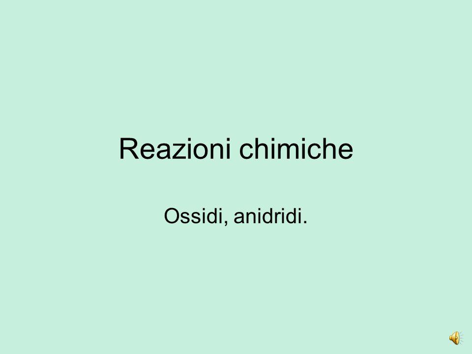 Reazioni chimiche Ossidi, anidridi.