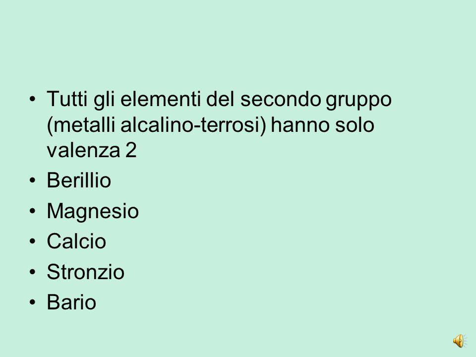 Tutti gli elementi del secondo gruppo (metalli alcalino-terrosi) hanno solo valenza 2 Berillio Magnesio Calcio Stronzio Bario