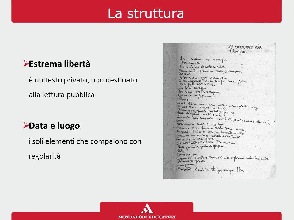 La struttura  Estrema libertà è un testo privato, non destinato alla lettura pubblica  Data e luogo i soli elementi che compaiono con regolarità