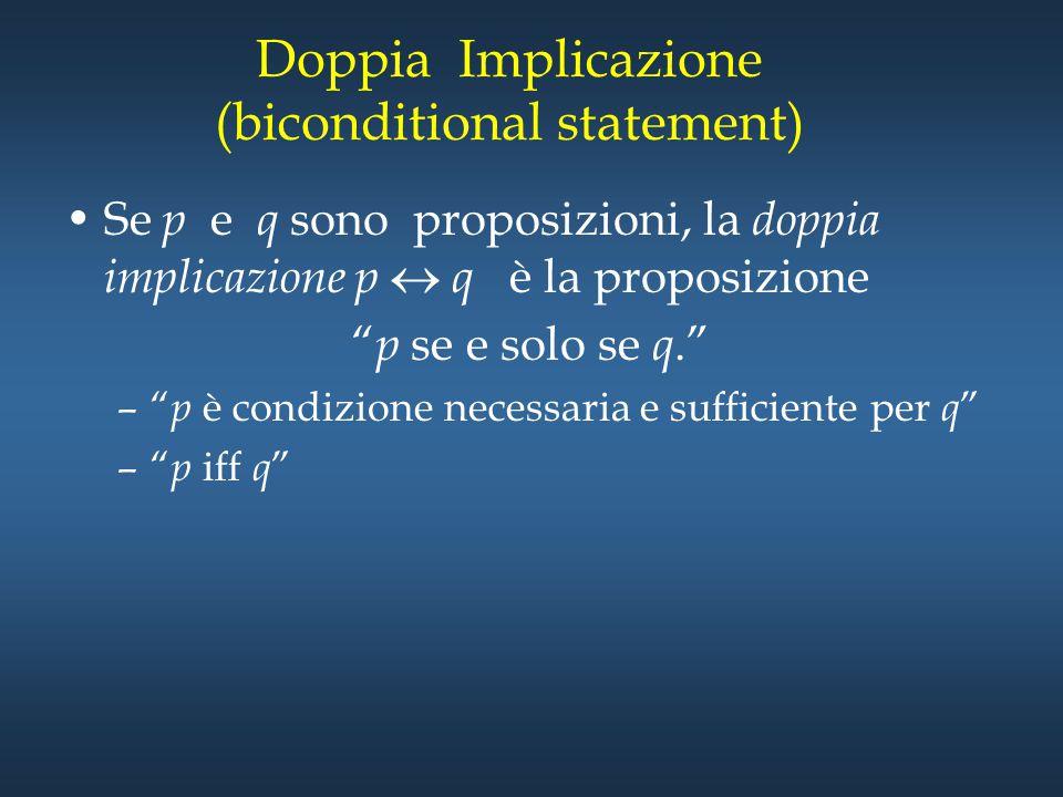 """Doppia Implicazione (biconditional statement) Se p e q sono proposizioni, la doppia implicazione p  q è la proposizione """" p se e solo se q."""" –"""" p è c"""