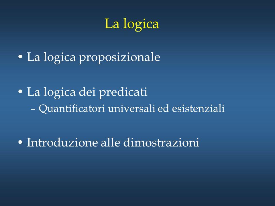 Logica dei Predicati Predicato : una proprietà che il soggetto della frase può soddisfare –Ex: x>3 x: variabile >3: predicato P(x): x>3 –FUNZIONE PROPOIZIONALE – P(x 1,x 2, …, x n ) : predicato con n argomenti