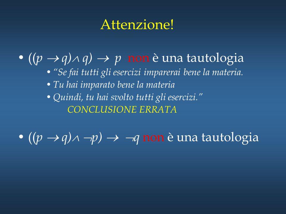 """Attenzione! (( p  q)  q)  p non è una tautologia """"Se fai tutti gli esercizi imparerai bene la materia. Tu hai imparato bene la materia Quindi, tu h"""